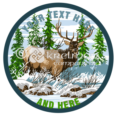 k1112-Deer-By-Snowy-Pine-Trees